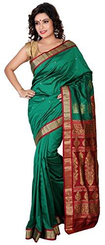 Aruna Fashions Self Design Paithani Gatti 3D Art Silk Saree( Sea Green color saree with Maroon color blouse piece)  available at amazon for Rs.999