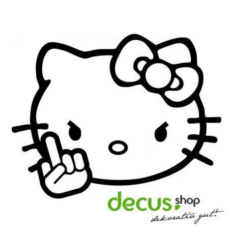 Decus Hello Kitty FUK You L 1956 // Sticker OEM JDM Style Aufkleber (Carbon Schwarz) (Hello Kitty Auto Aufkleber Zubehör)