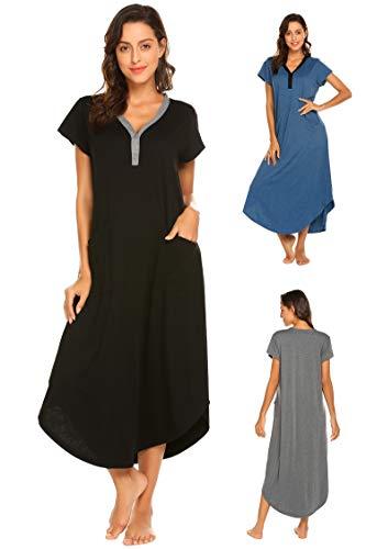 Damen Nachthemd Bodenlang Kurzarm Umstandskleid Knielang Nachtwäsche Nachtkleid Geburtshemd mit V-Ausschnitt Knopfleiste, 2 Taschen aus Baumwolle für Sommer Herbst Geburt Krankenhaus (Baumwolle Tasche Zwei)