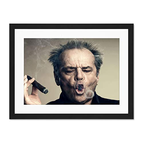 Mount Wall Jack (Doppelganger33 LTD Portrait Actor Jack Nicholson Cigar Smoke Ring Large Art Print Poster Wall Decor 18x24 inch Supplied Ready to Hang with Included Mount Brackets Porträt Große Kunst Wand Deko)