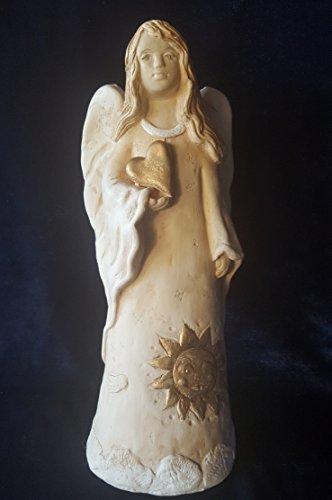 WERBUNGkreativ Engel Engelsfigur Große Figur XL 28cm Engelchen Schutzengel mit Sonne Gold im Kleid - Dekoration Weihnachten- Geschenk zur Hochzeit, Taufe, schützende Aufmerksamkeit, Zeichen der Liebe (Gold Kleider Weihnachten)