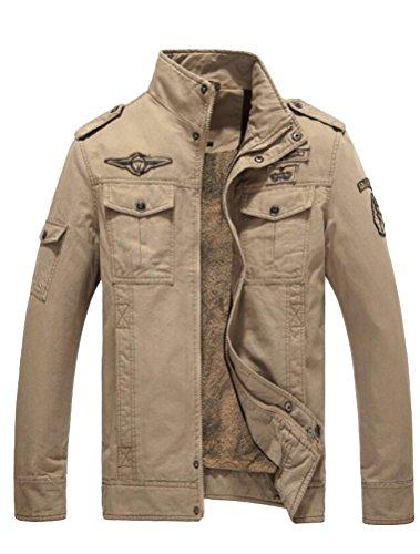 MatchLife Homme Nouveau Militaire Style Automne Veste Manteau Style1-Polaire-Kaki 2XL