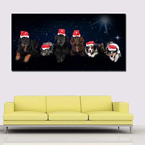 ZHANGFBH Leinwand Gemälde Hd Big Size Leinwand Kunst Hunde In Weihnachten Hut Druckplakat Wandkunst Bilder Für Wohnzimmer Wohnkultur Bilder Ungerahmt - Mono 40 Seiten In Farbe