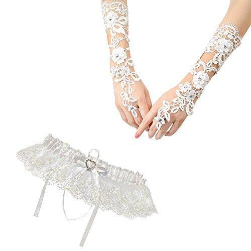 Hochzeit Strumpfband Elastizität und Handschuhe Fingerlose Spitze Brautkleid Braut Accessoire (Erwachsene Weiße Handschuhe Kurze Fingerlose)