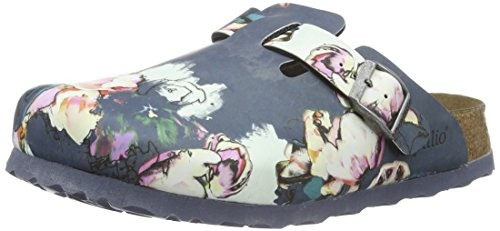 BirkenstockBoston Birko-Flor Softfootbed - Zoccoli Donna , Multicolore (Mehrfarbig (Painted Bloom Navy)), 35 normale