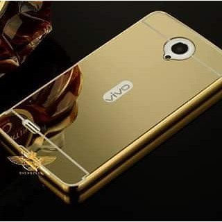 CEDO Premium Luxury Metal Bumper Acrylic Mirror Back Cover Case For Vivo Y21 - Gold
