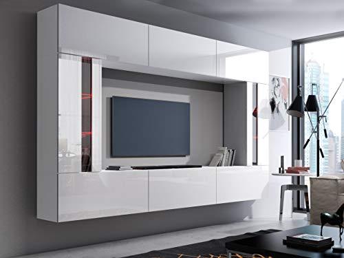 exklusive wohnwaende FUTURE 28 Moderne Wohnwand, Exklusive Mediamöbel, TV-Schrank, Schrankwand, TV-Element Anbauwand, Neue Garnitur, Große Farbauswahl (RGB LED-Beleuchtung Verfügbar) (28_HG_W_2, RGB fernbedienung)