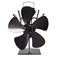 zhoujinf 5 Blades Heat Powered Stove Fireplace Eco Friendly Black Fan Smooth Thicken Energy Saving Wood Burner -Furnace Fan for Optimal Distribution Of Air