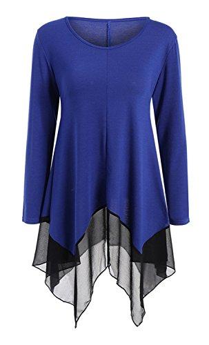 Manches Longues Transparente Mousseline Ourlet Mouchoir Ourlet Irrégulier Tunique T-Shirt Trapèzee Haut Top Bleu