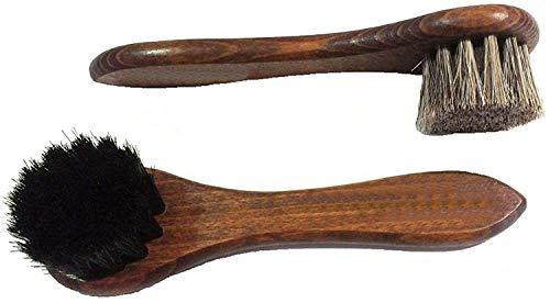 Supreme Shoe Care Dauber Application Brush Pack Black and Natural 100% Horse Hair