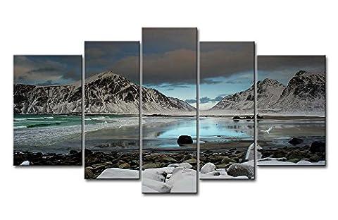 Impression sur toile Décoration murale Tableau Seagull Flying Over Mountain Lake pierres sur la plage 5pièces peintures moderne giclée tendue et encadrée illustrations d
