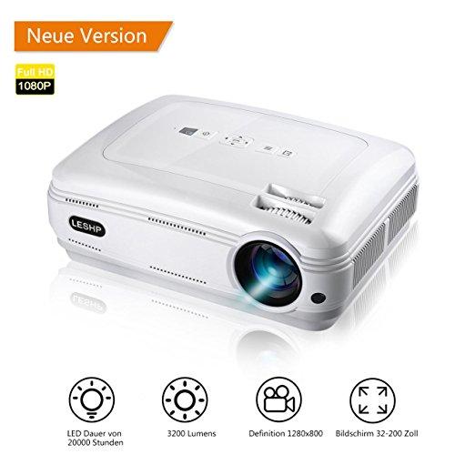LESHP Video Beamer Full HD 1080P LCD Projector 1280 x 1920 Höchste Resolution 720P Multimedia Beamer mit kostenlosem HDMI & AV Kabel,Support TV/Smartphone/PC/,Support 1080p/USB/VGA/SD/HDMI/TV/AV