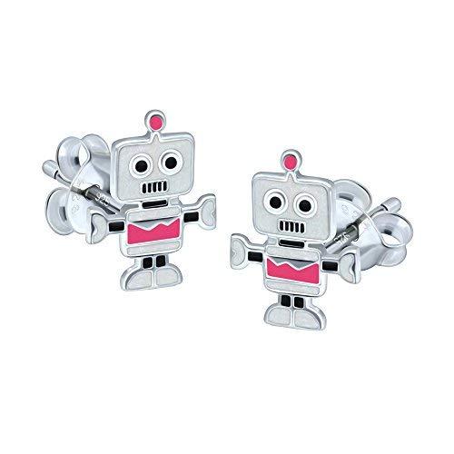Roboter Ohrringe-Sterling Silber-Pink
