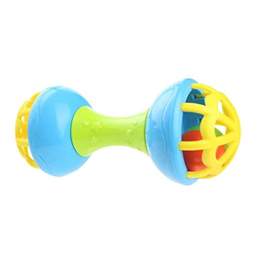 beIilan Doppel-End-Baby-Geklapper spielt wenig Laute Glocke Ball Spielzeug Neugeborenes Grasping Spielzeug Handglocken Ring Spielzeug Griff -