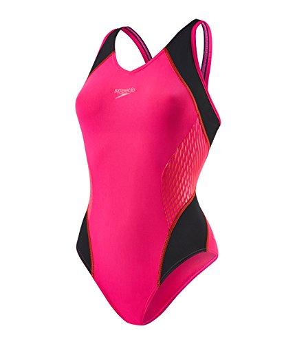 speedo-fit-splice-muscleback-costume-intero-da-donna-electric-rosa-lava-rosso-nero-44-uk-34