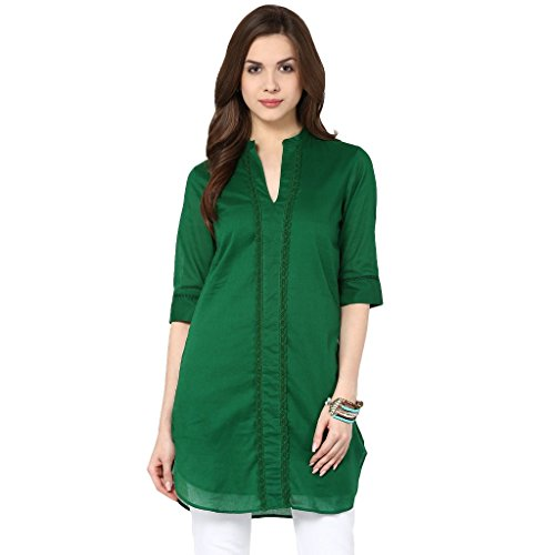 The Vanca Women Dress in green color with a long back panel  available at amazon for Rs.299