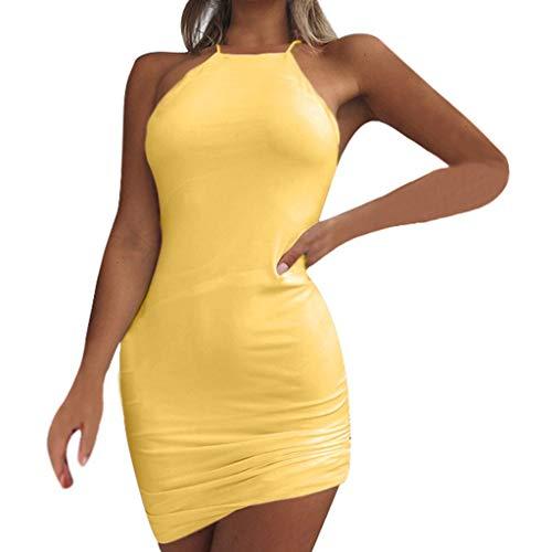 Proumy Cocktail-Kleid für Sommer, für Damen, figurbetont, ärmellos, Comprar más Con descuento en Proumy, Gelb, Comprar más Con descuento en Proumy XX-Large (Descuento De Vestidos)