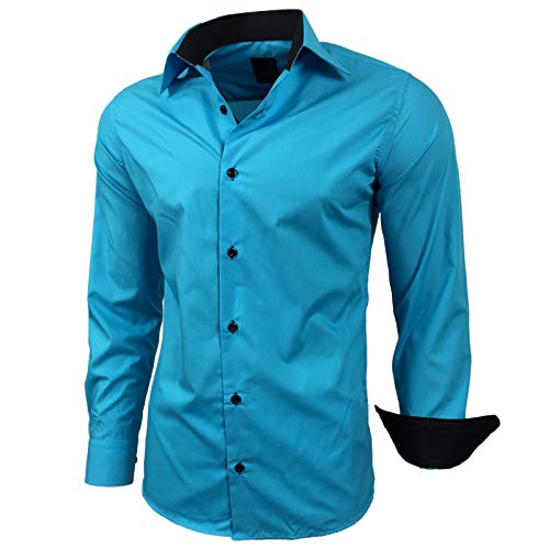 Kontrast Business Anzug Freizeit Polo Slim Fit Figurbetont Hemd Langarmhemd R-44, Farbe:Türkis;Größe:XL