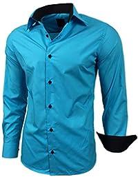 Baxboy Hombre de Camisa fácil de Planchar de Slim Fit para Traje 7e4b067627e