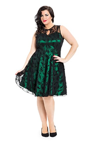 Neue Smaragd Grün Voodoo Vixen 50er Jahre Rockabilly Vintage Stil Spitzen Kleid (2XL) (Satin-kleid Mit Spitzen-overlay)