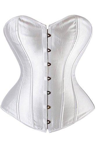 Kiwi-rata Damen Satin Vollbrust Korsett Top für Dicke Bauch Weg Vollbrust Corsage mit G-String XXXXXX-Large Weiß