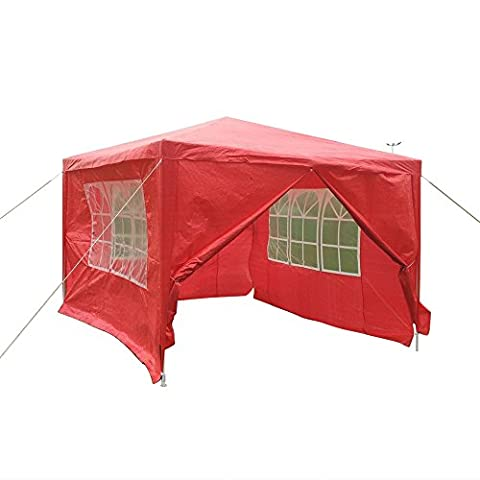 Tuff Concepts Garden Gazebo with Sides Waterproof Outdoor PE Marquee Canopy Party Tent (3x3 Red)