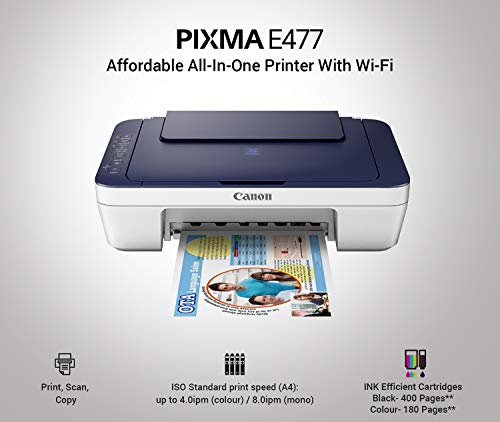 Canon Pixma E477 All-in-One Wireless Ink Efficient Colour Printer (White/Blue) 2