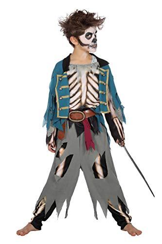 Piraten-Kostüm Jungen Oberteil, Hose mit Skelett-Aufdruck Gürtel Kinderkostüm Pirat Freibeuter Karneval Fasching Hochwertige Verkleidung Fastnacht Größe 152 Blau