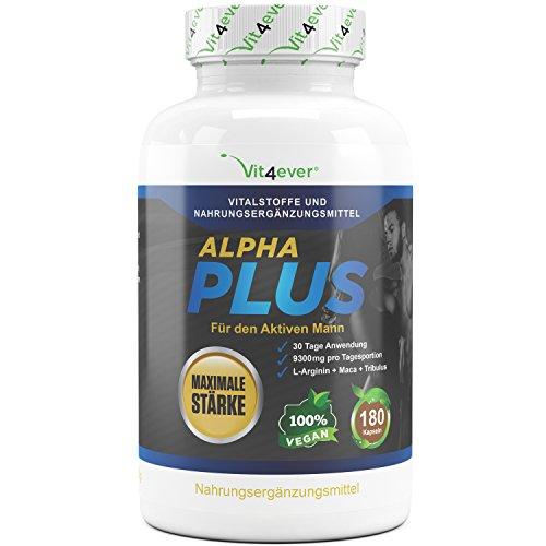 Alpha Plus - Maximale Stärke - 9300 mg Tagesdosierung - 180 Kapseln - 30 Tage Anwendung - L-Arginin + Maca + Tribulus - Hochdosierte Formel für aktive Männer & Sportler - Kraft & Ausdauer (Maximale Stärke Tabletten)
