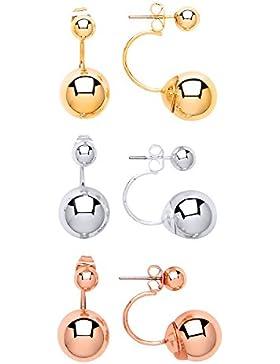 Front Row Damen-Ohrringe 3er Set Kugeln doppelseitig