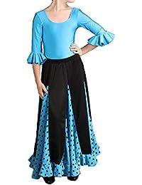 Anuka Conjunto de niña para Danza Flamenco o sevillanas. Dos Piezas, Maillot y Falda