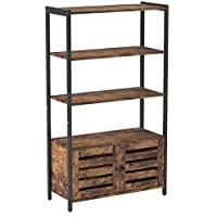VASAGLE Floor Standing Cabinet, Bookshelf, Industrial Storage Cabinet with 3 Shelves and 2 Shutter Doors, Bookcase in Living Room, Study, Office, Bedroom, 70 x 30 x 121.5 cm, Rustic Brown LSC75BX