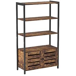 VASAGLE Bücherregal, Bücherschrank im Industrie-Design mit 3 Ablagen, 2 Lamellentüren, Wohnzimmer, Arbeitszimmer…