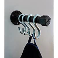 Handgefertigte Garderobenleiste Schwarz Anthrazit aus Metall 16cm 4 Wandhaken, Industrial Design sehr Stabil auch als Handtuchhalter