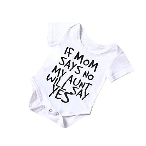 Neugeborenes Strampler Kinder Outfit,Hirolan Säugling Baby Walkoverall Junge Mädchen Baumwolle Spielanzug Overall Bodys Einteiler Sommerkleidung Schlafanzüge Coole babymode (80, Weiß) (Coole Kleidung)