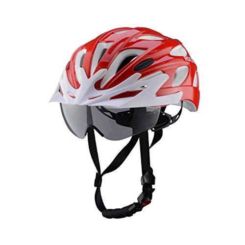 ROCKBROS Fahrrad Helm Radhelm Integriert mit Abnehmbaren Magnet Brillen Visier Größe Verstellbar 57-62CM Ultralleicht 281g(Rot Weiß)
