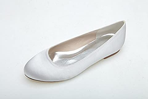 Women Heel Pump Shoes Sandal Flat Bottom Simple, Blanc, US9.5-10/EU41/UK7.5-8