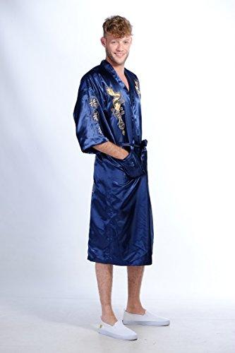 Secret Collection, Bademantel/Kimono aus Seide, Vintage-Look, Stickerei, Motiv: Drachen, Yukata Hakma Blau