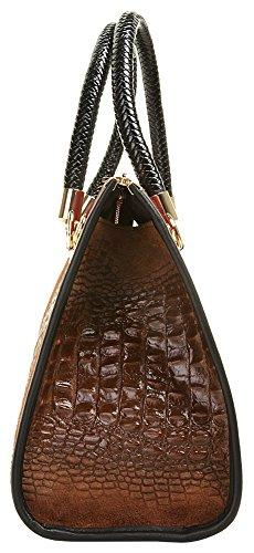CLUTY Handtasche ECHT LEDER Damen Mittel 017787 Cognac