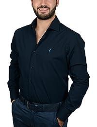 """DOMENICO AMMENDOLA, Camicia da Uomo """"Club"""" blu, cotone 100%, slim fit, collo francese piccolo, made in Italy"""
