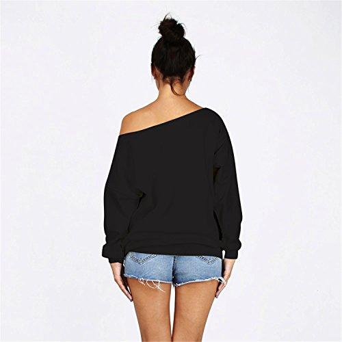 Frauen-Damen Anker weg von der Schulter Maxi-Slouchy Sweatshirt Pullover Tops Blusen Skull