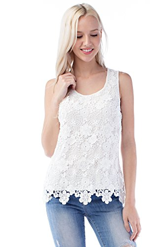 Solitaire Floral Lace Crochet Knit Back (medium, Ivory) (Crochet Knit Cardigan)