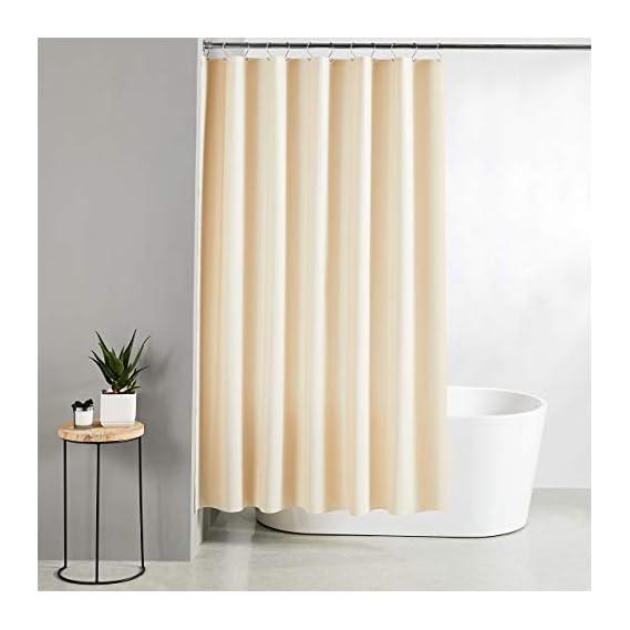 Amazon Brand - Solimo Emboss 100% PEVA Shower Curtain, 72 inch x 79 inch, Beige