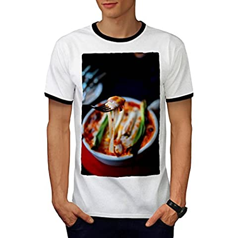 Pasta Recipe Kitchen Food Men M Ringer T-shirt | Wellcoda