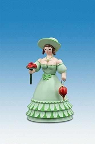 Biedermeierfrau in Grün mit Blumen und Tasche h=12 cm