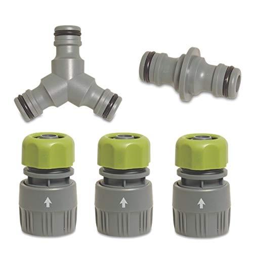 """Abzweig - 5er Set - Gardena kompatibel - für 15 mm und 19 mm (3/4\"""")-Wasserschläuche: Wasserdichter Abzweig-Verbinder für eine einfache Wasserteilung"""