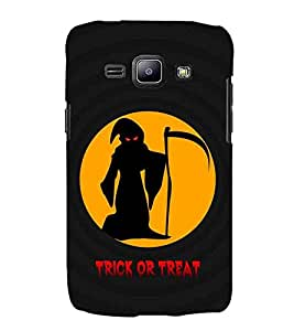 For Samsung Galaxy J2 J200G (2015) :: Samsung Galaxy J2 Duos :: Samsung Galaxy J2 J200F J200Y J200H J200GU trick or treat ( trick or treat, yellow circle, man with sword, man, good quotes ) Printed Designer Back Case Cover By CHAPLOOS