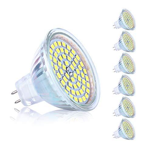 Velouer LED Amploues MR16 GU5.3 AC DC 12V 5 Watt Replacement pour 40W Halogène 6000K Blanc - un paquet de 6 unités Lampes