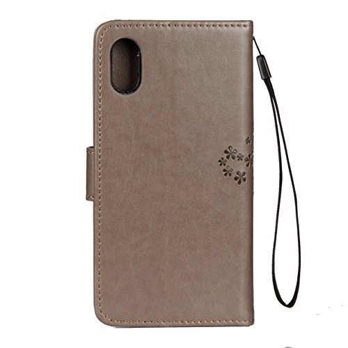 Apple iPhone 8 Hülle iPhone 8 Case WYSTORE Prägung Eulen-Baum PU Leder Bookstyle HandyHülle Tasche Flip Wallet Case Anti-Scratch Shell Cash Pouch ID Card Slot Magnetverschluss Etui Soft Silikon Back C Grau