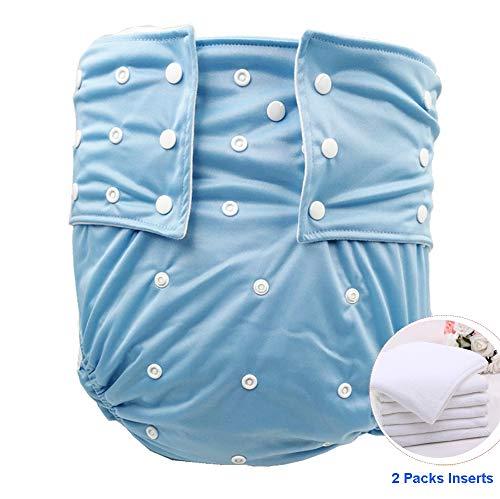 Jolie Diapers Erwachsener/Teenager Stoffwindeln Alten Waschbar Inkontinenz-Unterwäsche Super Saugfähigkeit Wiederverwendbar Einstellbar Leckfrei Windelhosen,Blue
